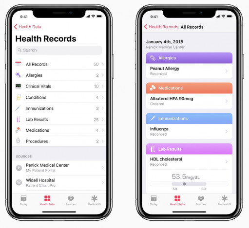health records ios 11.3